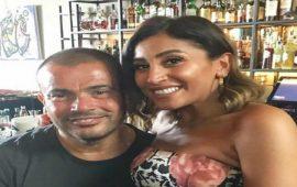 رومانسية عمرو دياب ودينا الشربيني تلفت انتباه الحاضرين في حفل الرياض