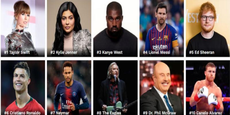 صورة قائمة أغنى مشاهير العالم حسب مجلة Forbes لسنة 2019