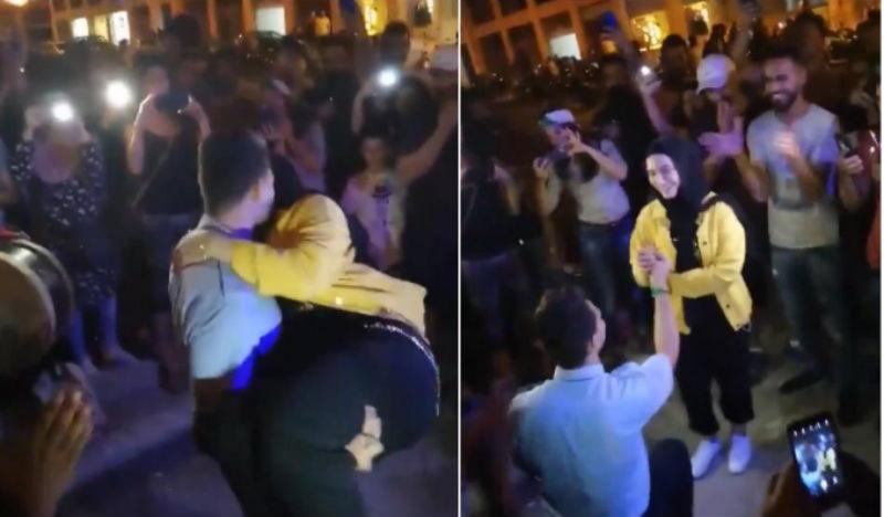 صورة شاب يتقدم لخطبة حبيبته وسط إحتجاجات لبنان- فيديو