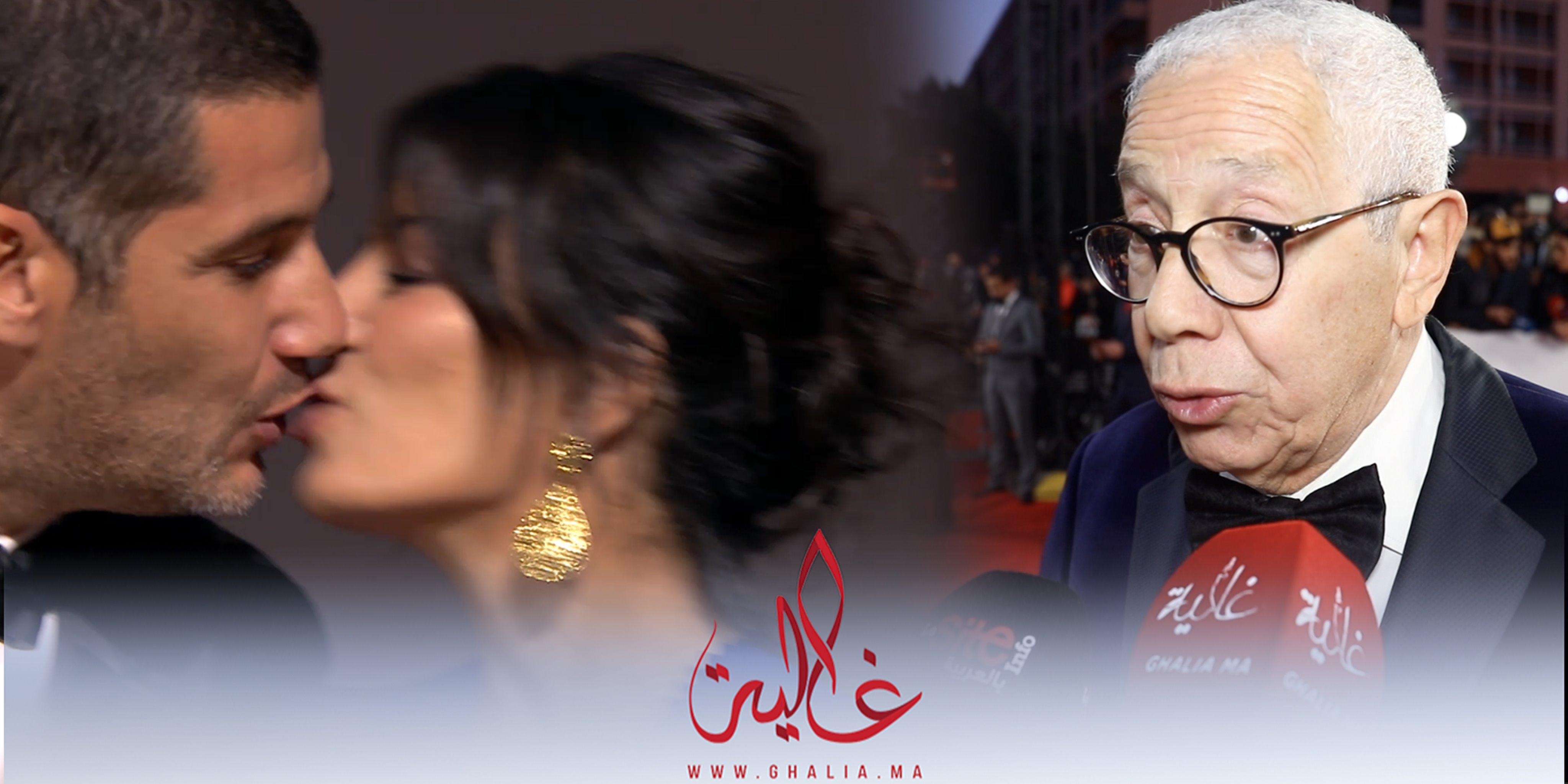 """صورة بسبب """"آدم"""".. نبيل عيوش يقبل زوجته من قلب المهرجان الدولي للفيلم بمراكش"""