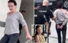 لحظة القبض على ممثلة أمريكية شهيرة عقب اعتدائها على امرأة صورتها وهي هائجة