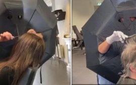 مصففة شعر تبتكر طريقة غريبة لحماية نفسها من فيروس كورونا – فيديو