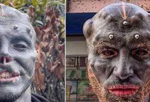 صورة شاب غريب يحول شكله إلى قناع مخيف ويزيل أنفه وفمه!
